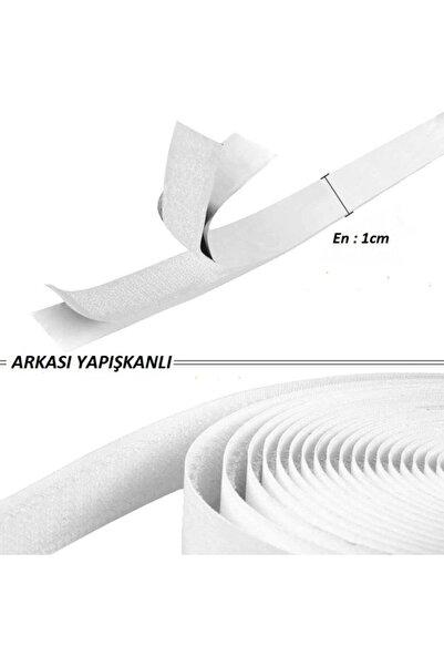 Dünya Magnet Yapışkanlı Cırt Cırtlı Bant, 5 Mt Amerikan Fermuarı, 1 Cm Genişlik Beyaz Cırt Band , Beyaz