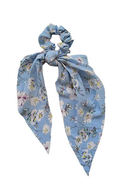 Virgoo Beyaz Çiçek Desenli Mavi Lastik Fular Toka