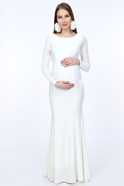 Moda Labio Uzun Kol Kadife Beyaz Balık Hamile Elbisesi