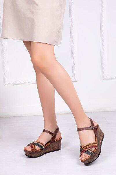 Deripabuc Modd Deripabuc Hakiki Deri Multi-1 Kadın Dolgu Topuklu Deri Sandalet Dp55-1258