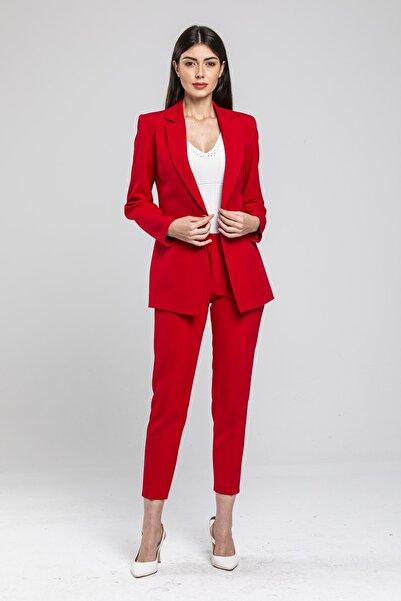 LOVELF Kadın Kırmızı Düğmeli Atlas Takım