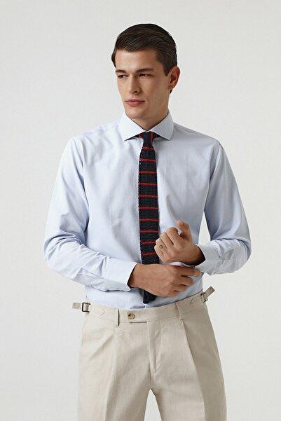 D'S Damat Mavi Renk Erkek  Gömlek (Slim Fit)