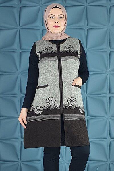 PYS Giyim Anne Menekşe Çiçekli Uzun Yelek Kuğu-007