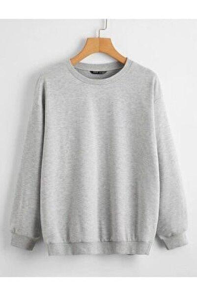 Unisex Gri Düz Basic Sweatshirt