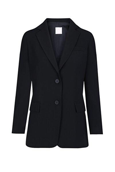 W Collection Kadın Siyah İki Düğmeli Ceket