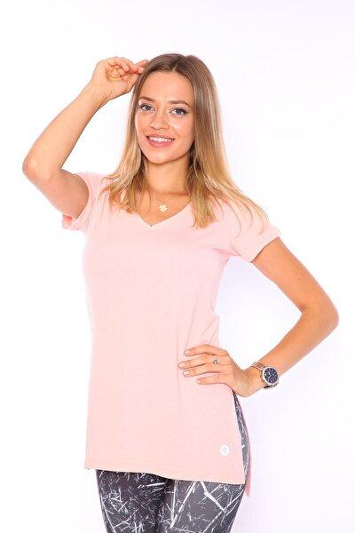 Superstacy Kadın Somon V Yaka Yırtmaçlı Tunik Tshirt