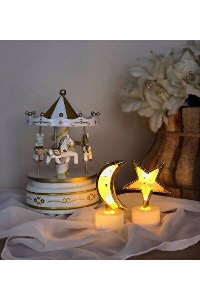 Gift Moda Nostaljik Atlı Karınca Müzik Kutusu Ve Mini Ay Ve Yıldz Gece Lambası