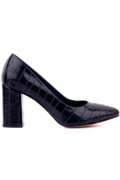 Nom Trend Kadın Lacivert Kroko Yüksek Topuklu Ayakkabı