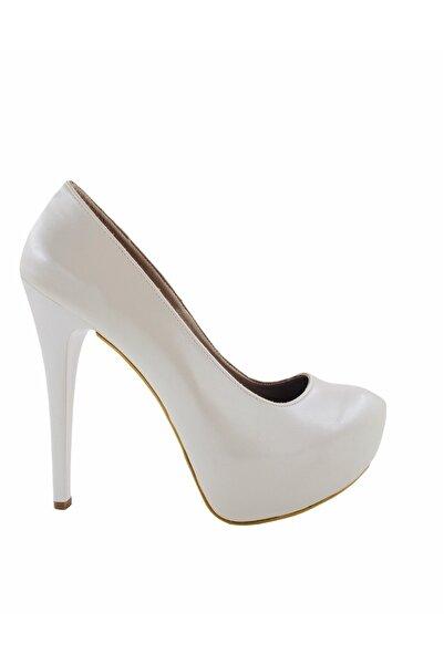 Gess Beyaz Topuk Platformlu Abiye Ayakkabı