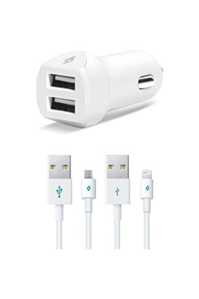 Ttec 2cks02 Speedcharger Duo Araç Şarj Aleti Çift Usb 3.1a (Çift Kablo) Beyaz