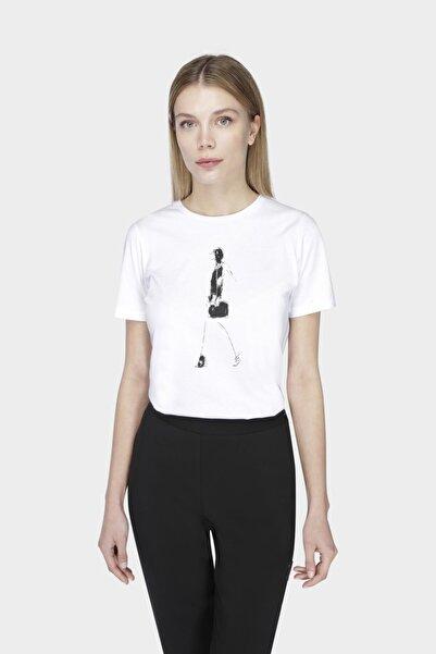 W Collection Beyaz Fashıon Prıntlı T-shırt