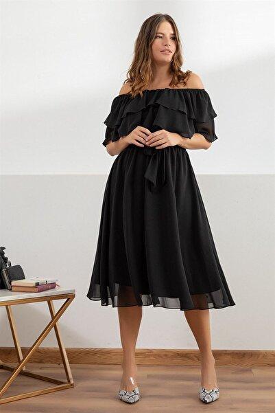 Elbise Delisi Kadın Siyah Madonna Fırfır Yaka Büyük Beden Şifon Elbise
