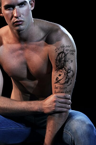 TAKIŞTIR Unisex Siyah Gerçekçi Geçici Denizci Çapa Dövme Tattoo