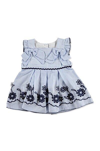 Bebemania Kız Bebek Mavi Sarmaşık Elbise