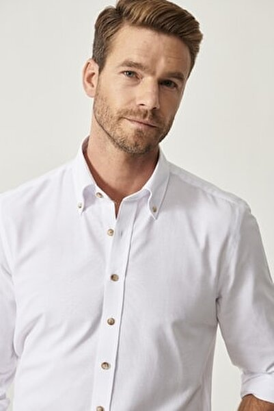 Erkek Beyaz Düğmeli Yaka Tailored Slim Fit Oxford Gömlek