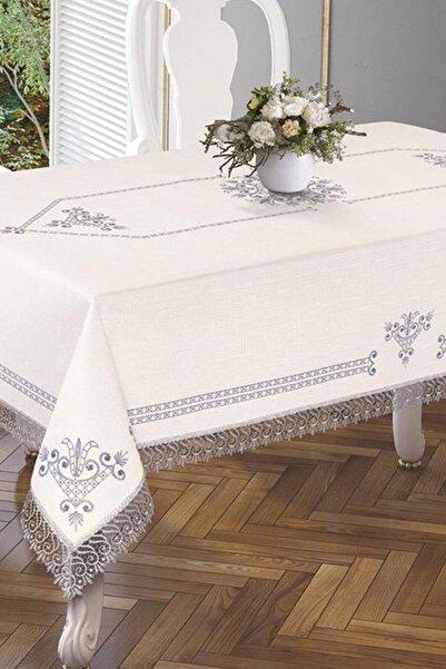 Çeyiz Diyarı Lale Baskılı Es Güpürlü Masa Örtüsü - Silver