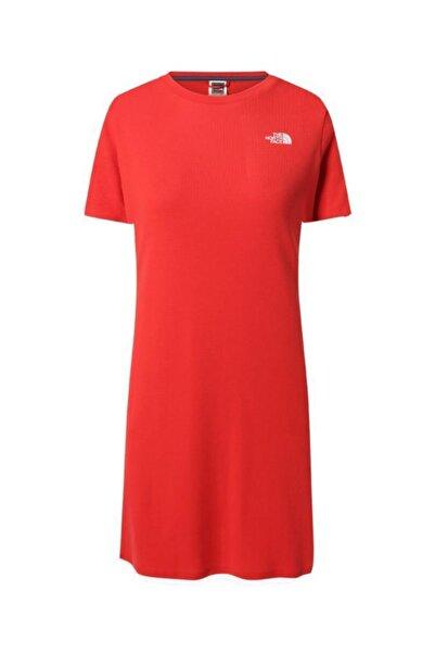 THE NORTH FACE Kadın Simple Dome Dress Uzun Tişört Kırmızı