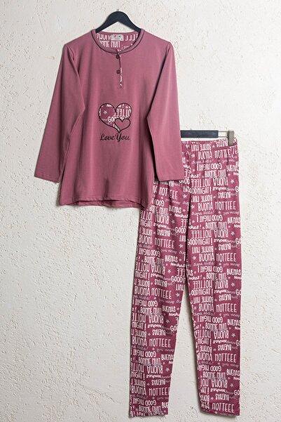 BSM Kadın Gül Kurusu Pamuklu Kalp Desenli Mevsimlik Pijama Takımı