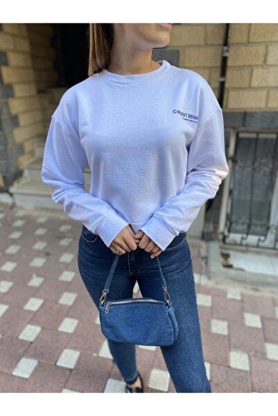 NİCE Kadın Beyaz Yazı Detaylı 2 Iplik Sweatshirt