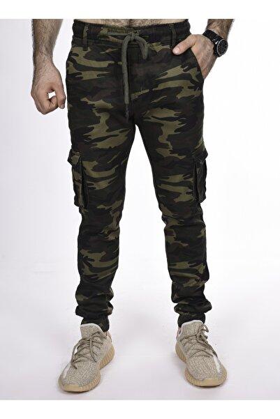 BLACK STEEL Erkek Yeşil Yanları Kargo Cepli Kamuflaj Desenli Pantolon