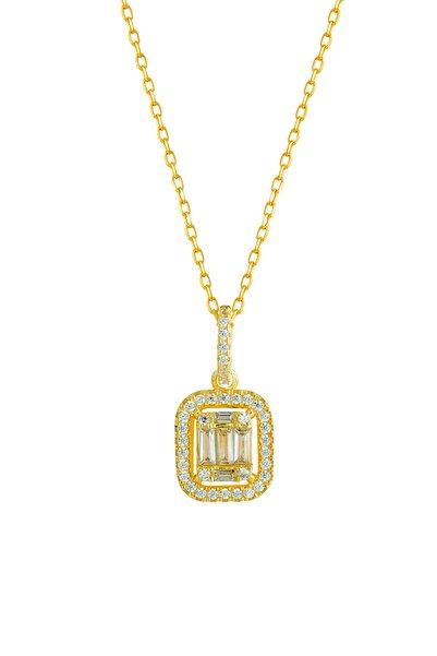 Afrodit Silver Kadın Baget Taşlı Gümüş Kolye