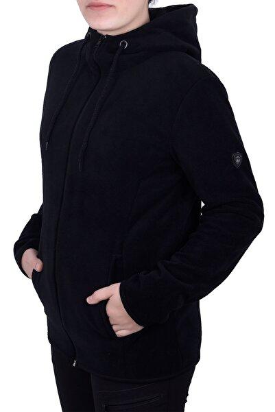 GHASSY CO. Kadın Siyah Kapşonlu Fermuarlı Polar Sweatshirt