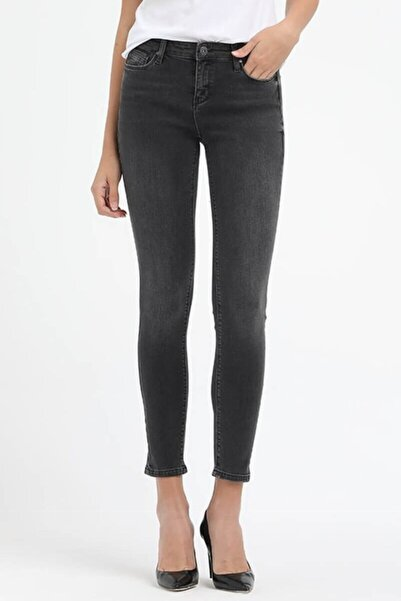 Loft Kadın Gri Bilek Boy Skinny Fit Kadın Kot Pantolon
