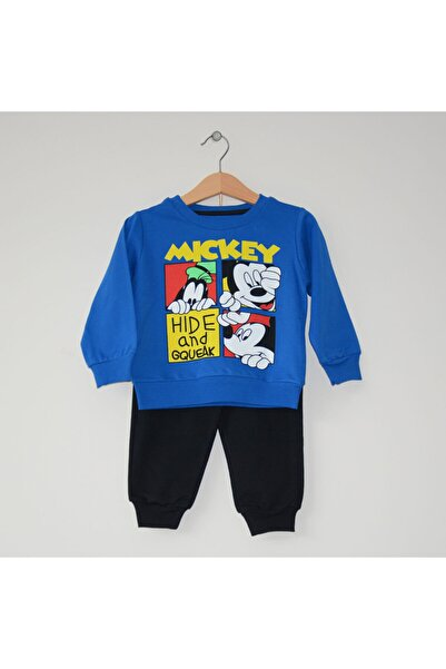 Mickey Mouse Miniya Unisex Çocuk Disney Parlament Mavi Siyah Eşofman Takımı