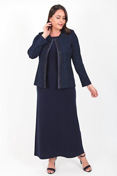 Ladies First Kadın Büyük Beden 3306 Lacivert Uzun Abiye Elbise