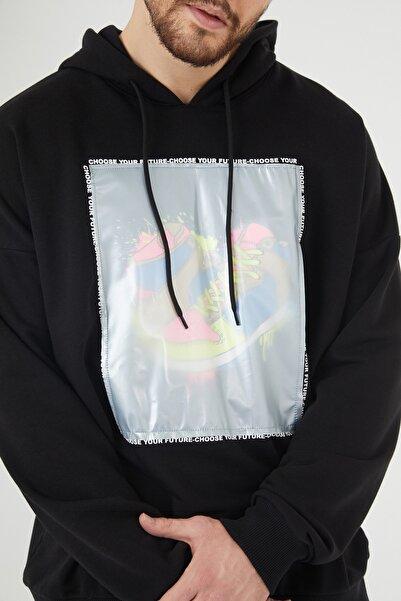 XHAN Siyah Baskılı Kapüşonlu Sweatshirt 1kxe8-44393-02
