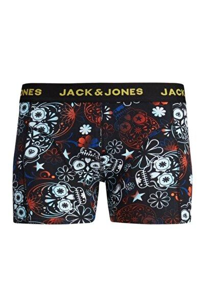 Jack & Jones Erkek Siyah Kırmızı Desenli Boxer 12185398