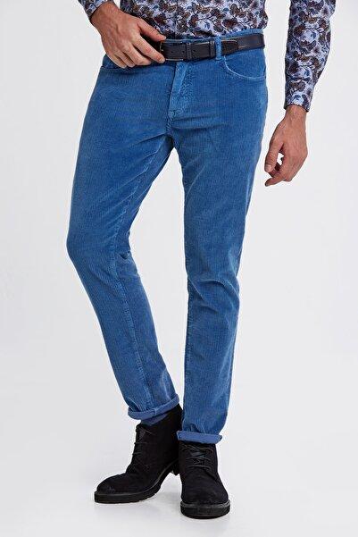 Hemington Erkek Mavi Slim Fit Koyu Kadife Pantolon