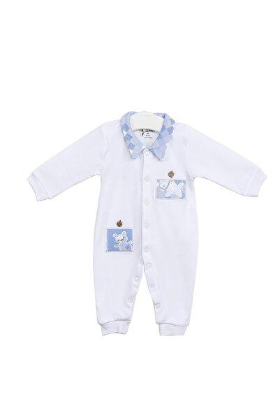 Aziz Bebe Erkek Bebek Beyaz Ayı Figürlü Uzun Kollu Çıtçıtlı Tulum Azz006689