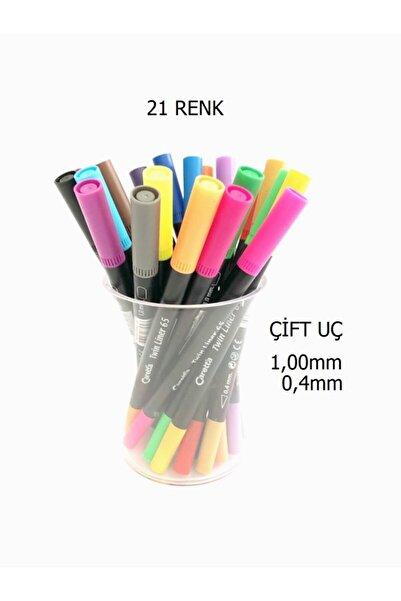 Caretta Twinliner Ince Ve Kalın Çift Uçlu Kalem 21 Renk Kristal Kalemlikli Set