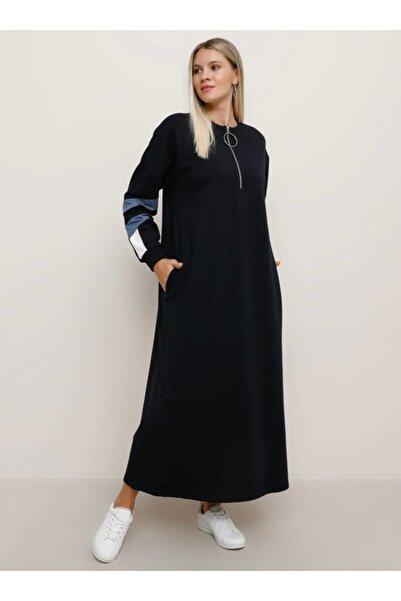ALİA Büyük Beden Cep Detaylı Spor Elbise - Lacivert Indigo Ekru -
