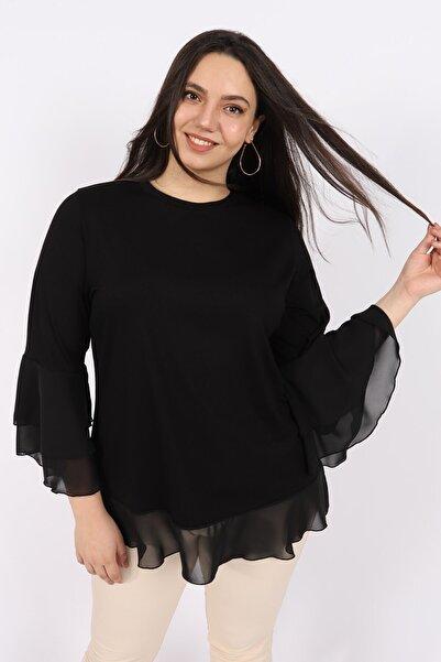KadoModa Kadın Siyah Şifon Volanlı Penye Bluz