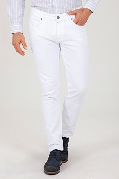 Hatemoğlu Erkek Beyaz Slim Fit Spor Pantolon