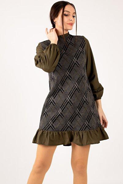 armonika Kadın Haki Yakası Ve Altı Fırfırlı Desenli Elbise ARM-21K001041