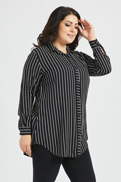 AFİLİYOL Kadın Siyah Beyaz Çizgili Büyük Beden Gömlek