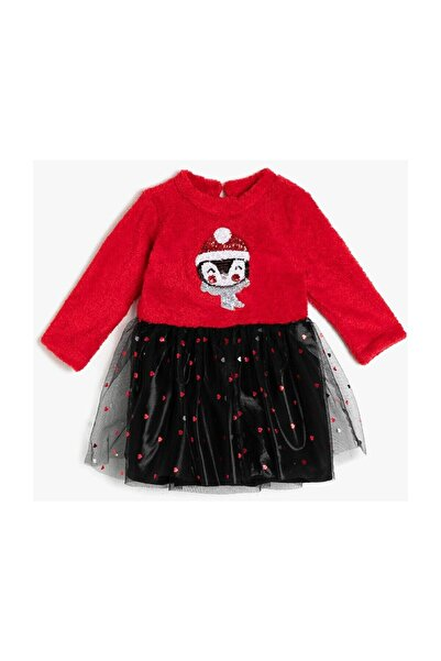 Koton Kız Bebek Kırmızı Polar Tüllü Payetli Uzun Kollu Prenses Elbise