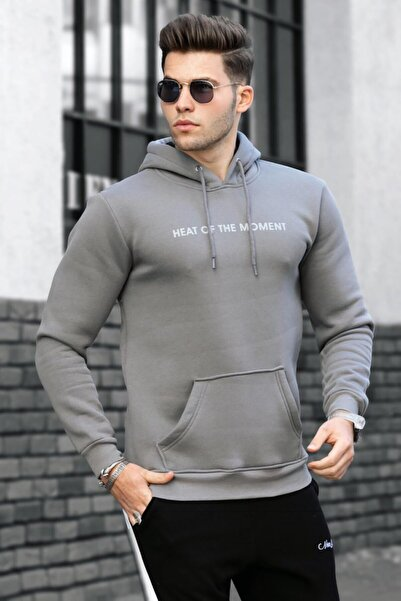 Madmext Erkek Antrasit Kapüşonlu Sweatshirt 4784