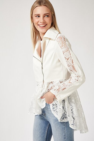 Happiness İst. Kadın Beyaz Dantelli Suni Deri Ceket FN02570