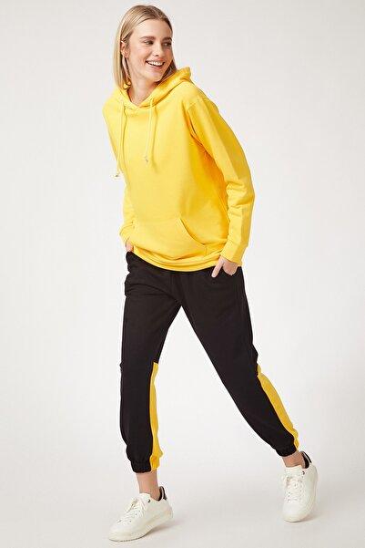 Happiness İst. Kadın Sarı Blok Renkli Oversize Eşofman Takımı FN02575