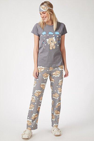 Happiness İst. Kadın Taş Grisi Baskılı Uyku Bantlı Pijama Takımı EC00027
