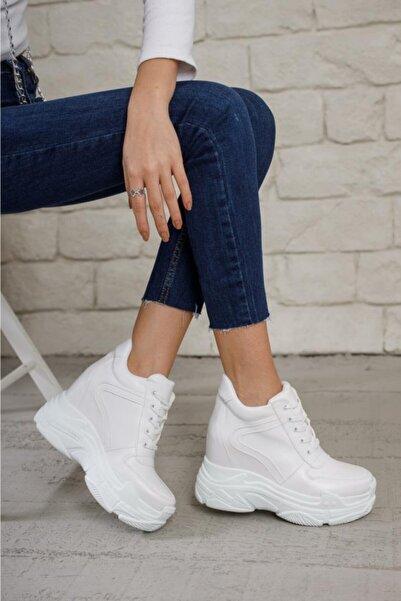 Modanizm Kadın Beyaz Baweq Dolgu Spor Ayakkabı