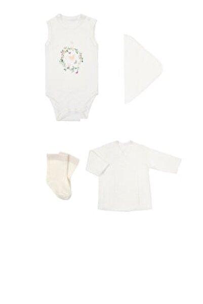 Kız Bebek Beyaz Yenidoğan Kelebek Zıbın Set