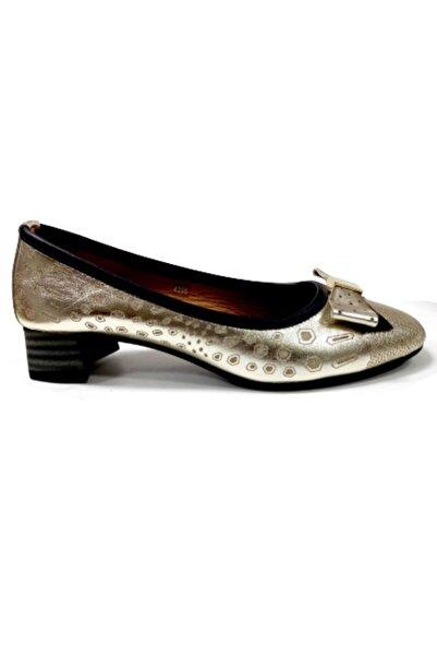 Mammamia Platin Kısa Topuklu Kadın Ayakkabı