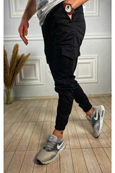 ukdwear Erkek Siyah İtalyan Kesim Kargo Cep Likralı Pantolon