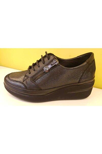 Venüs Kadın Platin Siyah Ayakkabı