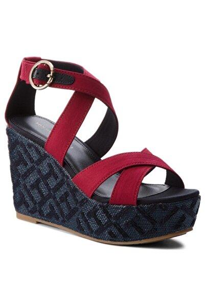 Tommy Hilfiger Kadın Kırmızı Dolgu Topuklu Sandalet